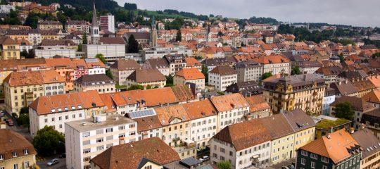 Switzerland swiss La Chaux de Fonds town city overview canton Neuenburg houses homes town view