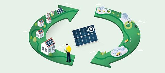 Infografik: Kreislauf einer Solarzelle (Ohne Text)